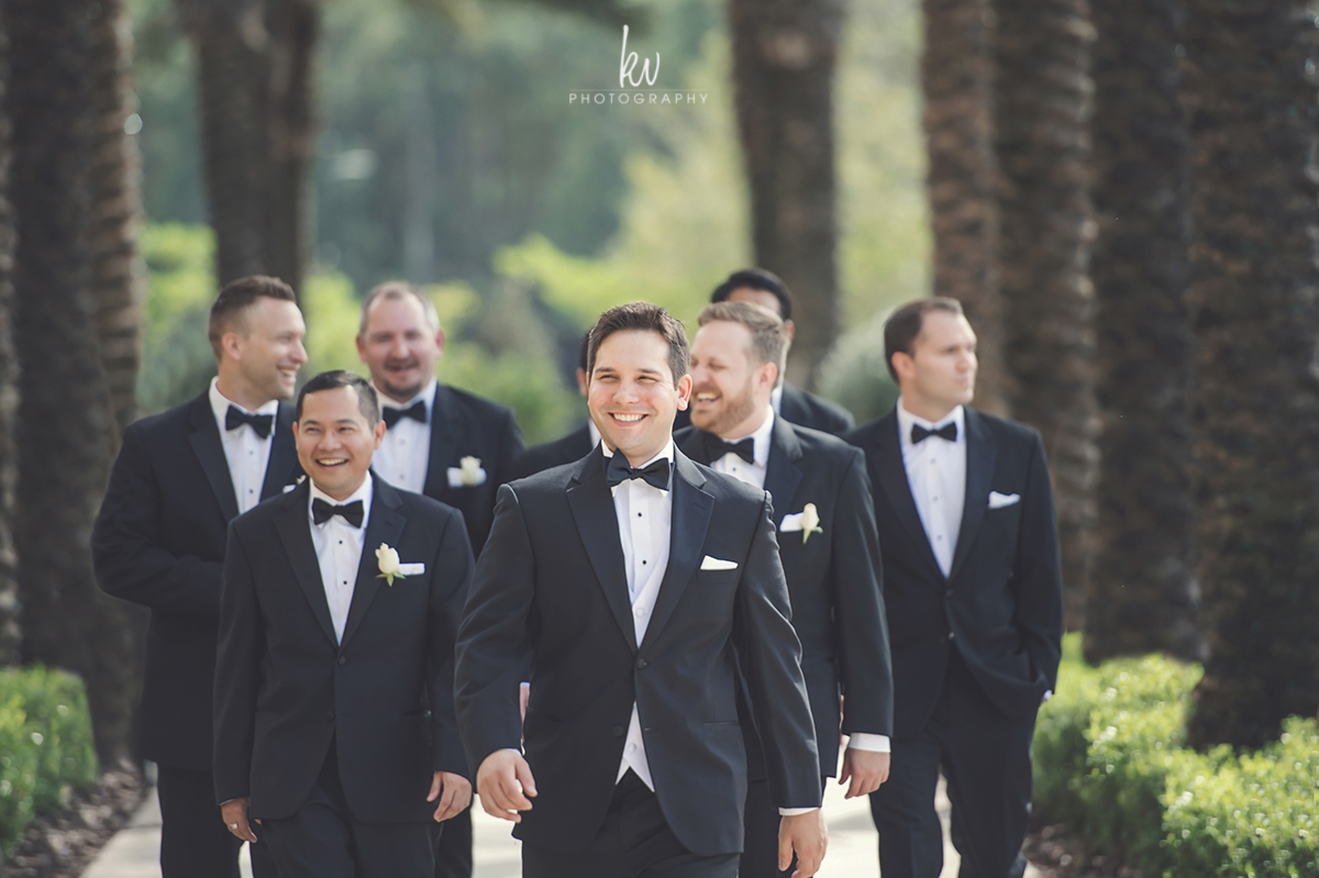 Groom and groomsmen ready at the Four Seasons Orlando