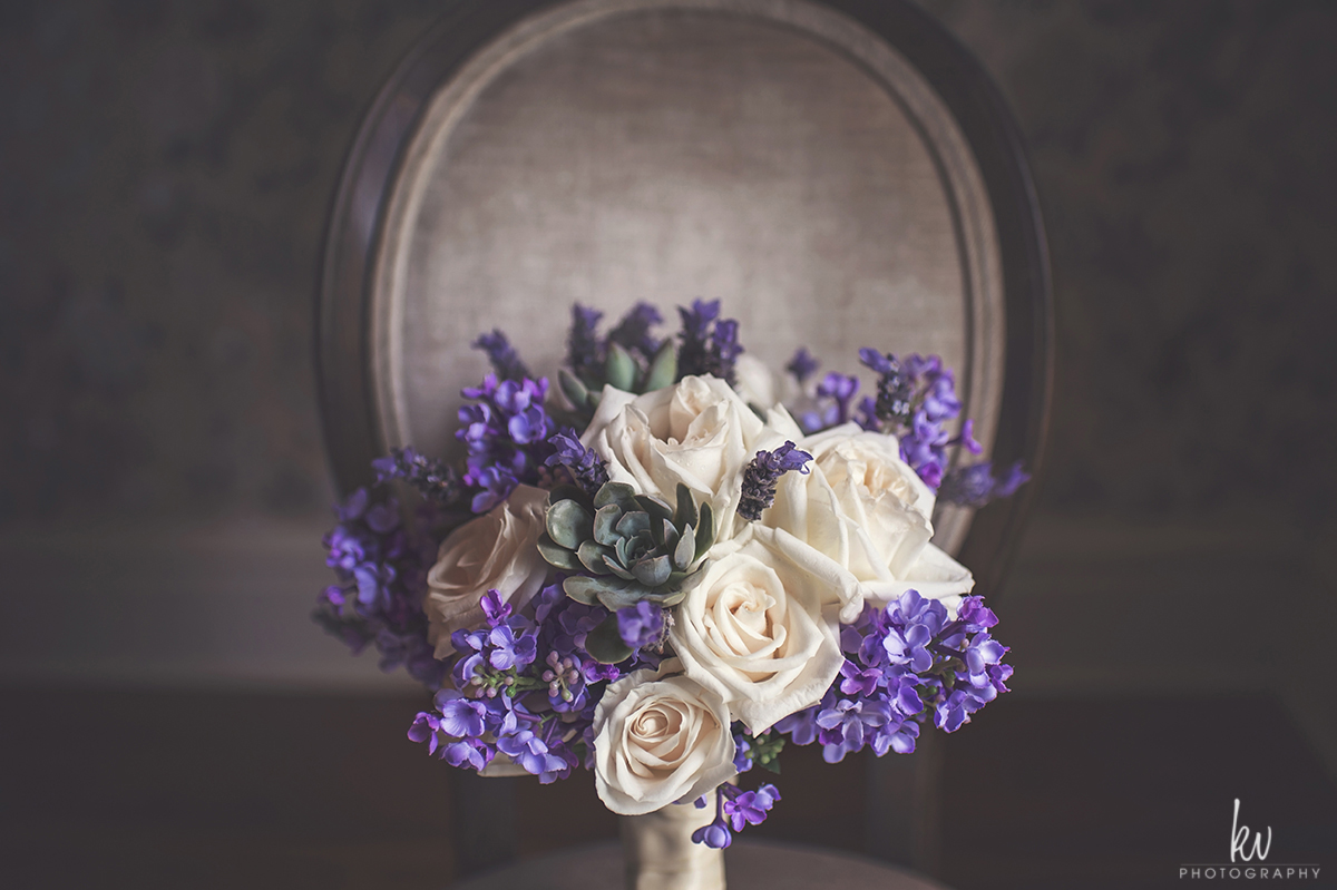 Bride's bouquet of flowers at Highland Manor on her wedding day