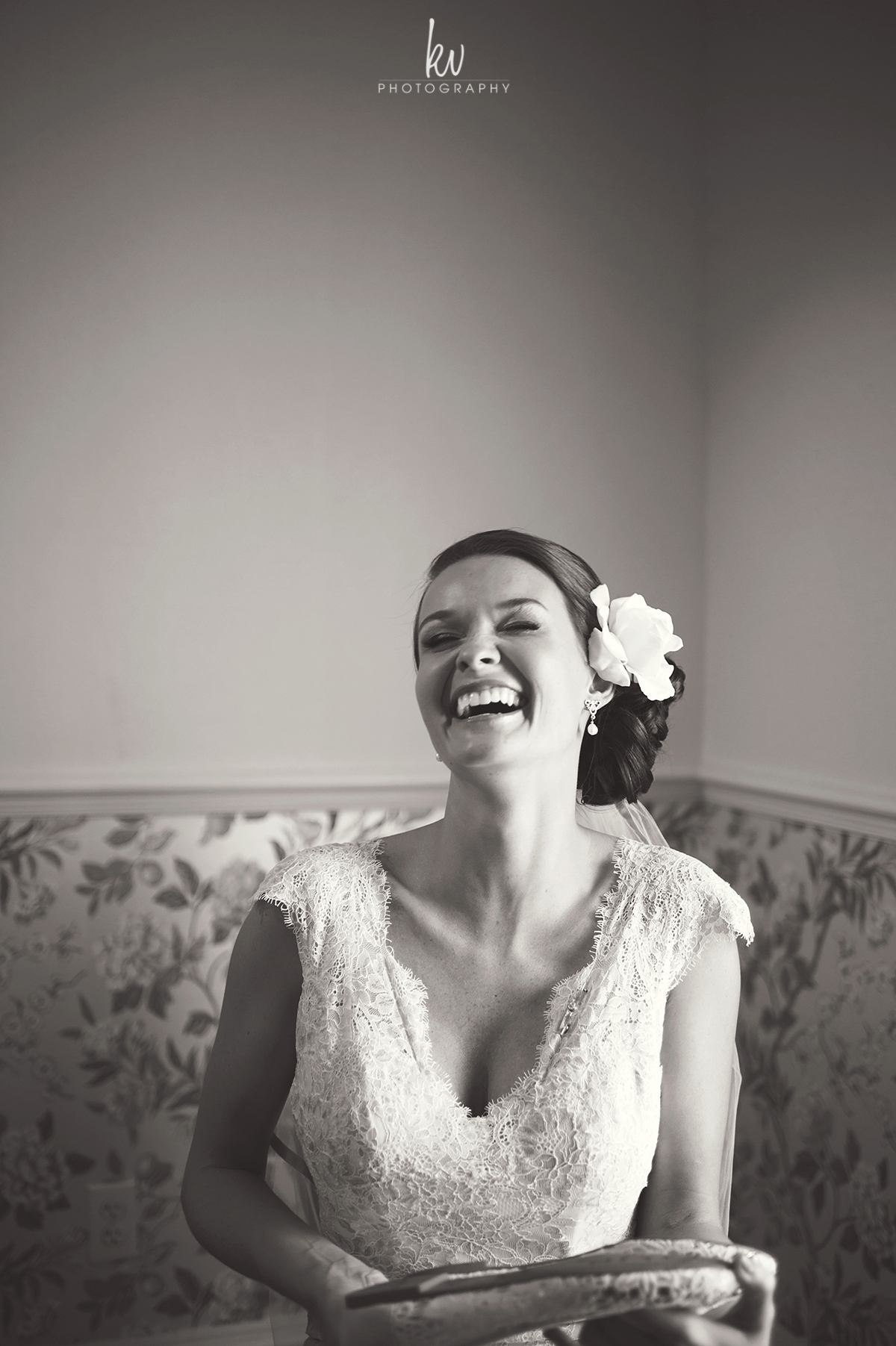 Bride getting ready at Highland Manor on her wedding day